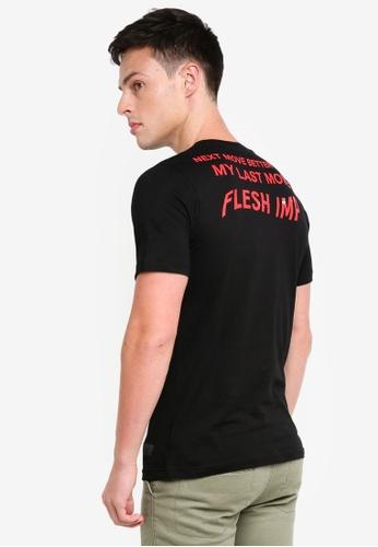 Flesh IMP 黑色 前後短袖印花T恤 DC450AA8DA2861GS_1