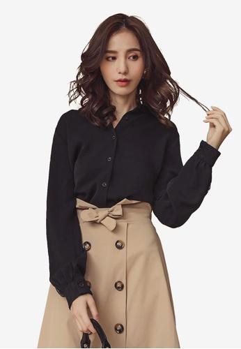 Kodz black Lapel Collar Long Sleeve Button Down Shirt 11285AA6F2FCF5GS_1