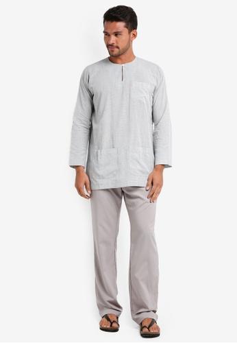 Lubna grey Checkered Baju Melayu Teluk Belanga F586CAA9EAF110GS_1