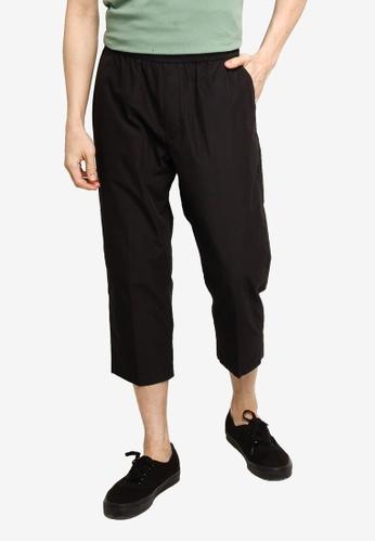 GLOBAL WORK black Casual Cropped Pants E6B5EAA91A9D40GS_1