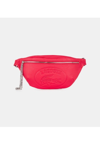 Lacoste Women's Croco Crew Embossed Logo And Chain Leather Belt Bag C9FEFACAD25595GS_1