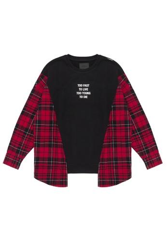 MUSIUM DIV red Plaid panelled sweatshirt 9038DAA64A9E03GS_1