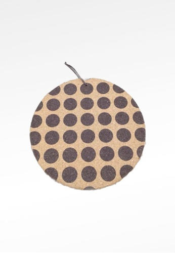 Ayra Home & Living brown Big Polka Dots Kitchen Insulation Cork Coaster A8541HL2B5187CGS_1