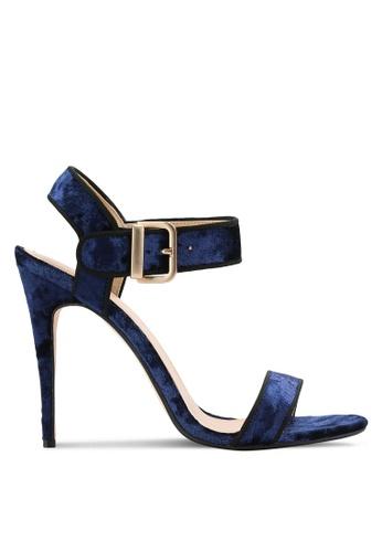 ZALORA navy Velvet Ankle Strap Heels 181B9SH4AF53AAGS_1