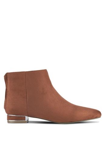 ZALORA brown Microfiber Boots 41356ZZD1A06DFGS_1