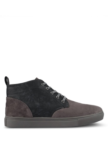 JAXON grey Tonal Mixed Materials Chukka Boots 072FBSHAA05FF3GS_1