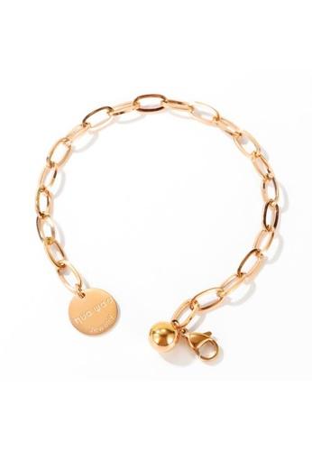 YOUNIQ YOUNIQ JASL 18K Rosegold Link Titanium Steel Chain Bracelet with Round Dangle 9260FAC78C390FGS_1