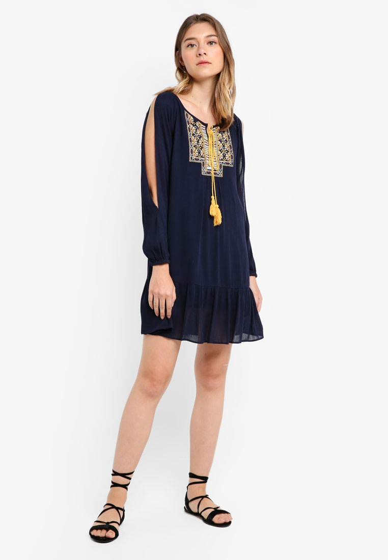 Slit Navy Borrowed Dress Embroidered Sleeve Something ffqpBv