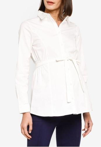 Mama.licious white Maternity Nikolina Long Sleeve Shirt E2555AA9FD8565GS_1