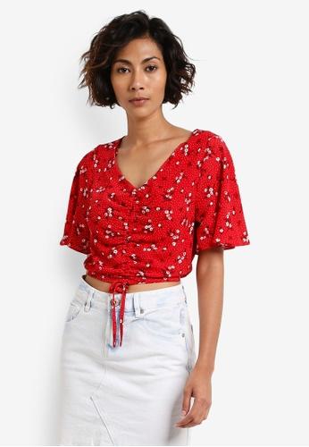 Miss Selfridge red Petite Red Ruched Angel Sleeve Top MI665AA0RCJJMY_1