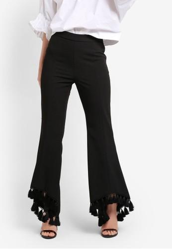 bYSI black Tassel Hem Flared Trousers BY867AA71YEEMY_1