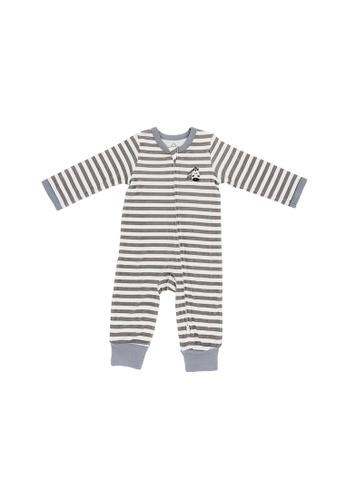 Baby Lovett grey Stripey Zebra Two-Way Zipper Suit 18CDCKA51F1E83GS_1