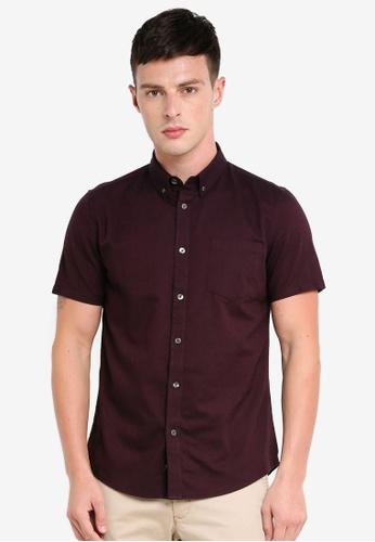 Burton Menswear London red Berry Short Sleeve Oxford Shirt 2FDA4AAFAABA17GS_1