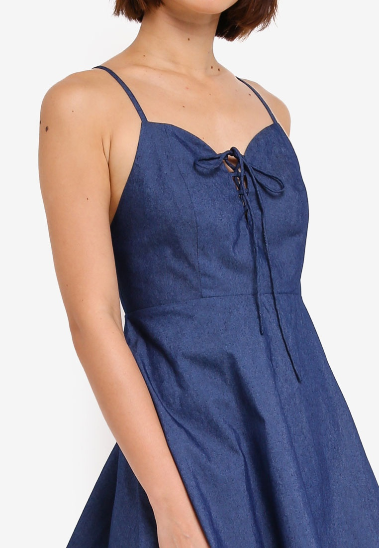 ZALORA Cami Dress Dark Chambray Front Tie YfwyU1Tctq
