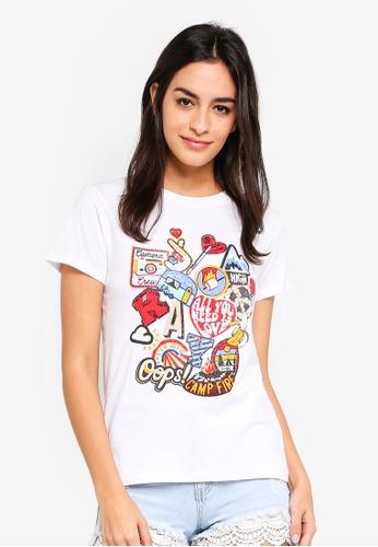 6IXTY8IGHT beige Camp Fire T-Shirt D0329AA4215636GS_1