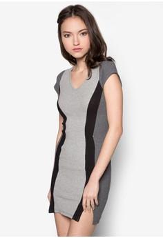 Cap Sleeve Textured Panel Bodycon Dress