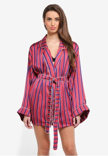 MISSGUIDED red Shirting Stripe Satin Robe 51265AAC653BE0GS_1