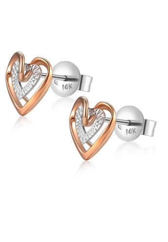 MaBelle silver 14K 585 Rose and White Gold Diamond Cut Double Heart Stud Earrings AF48AAC4E398A8GS_1
