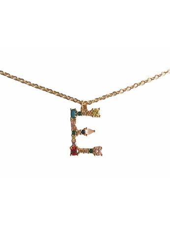 CINDERTOELLA multi Cindertoella Initial Alphabet Letter E Zircon Stone Pendant 18K Gold Plated Necklace 6659FAC511B8FFGS_1