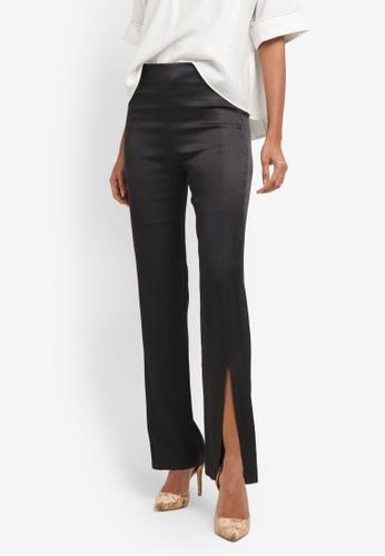 Mango grey Side Slit Satin Trousers MA193AA0RSASMY_1