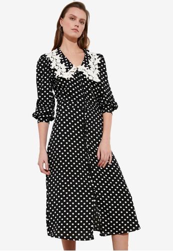 Trendyol black Embroidered Collar Polka Midi Dress 741C2AA3135005GS_1