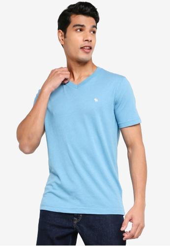 ABERCROMBIE & FITCH blue Icon V-Neck T-Shirt EF34DAA73CC2E6GS_1