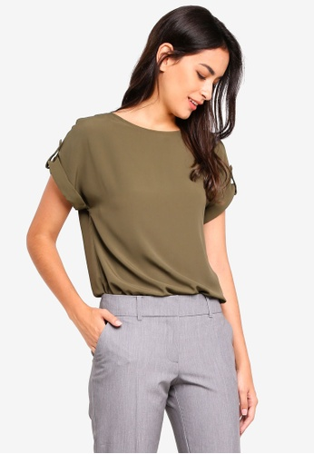 Dorothy Perkins green Khaki Button Tee CDCB6AACCCE72CGS_1