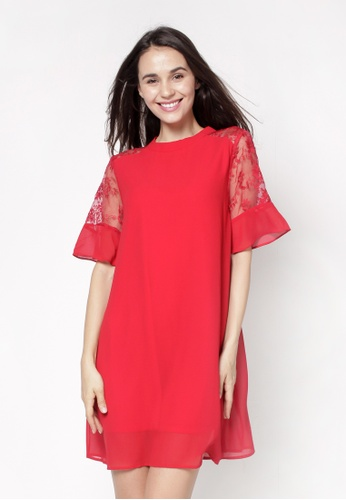 nicole red High Neckline Flare Bell Sleeve Flare Dress 801E2AA1BCB205GS_1