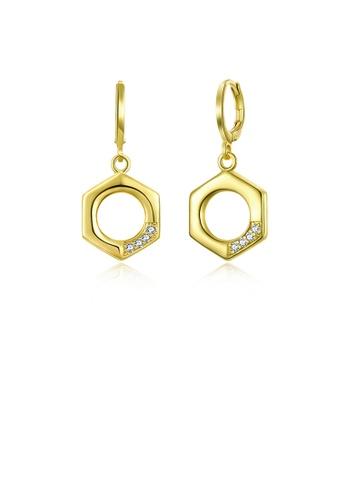 Glamorousky white Fashion Simply Plated Gold Hexagonal Earrings with Austrian Element Crystal B03BAAC6B66E08GS_1