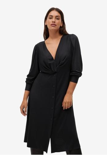 Violeta by MANGO black Plus Size Draped Neckline Dress 6E058AA06562A0GS_1