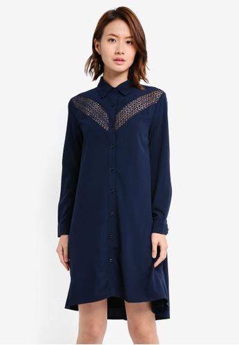 ZALORA navy Lace Insert Shirt Dress 9A301AAFF343A9GS_1
