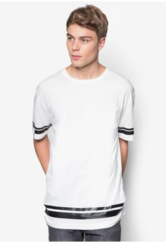 Elongated Tee With Coated Stripes