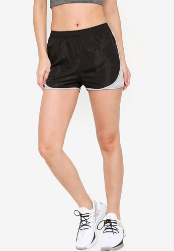 ZALORA ACTIVE black and grey Contrast Side Track Shorts 5BAA9AA11D6CA5GS_1