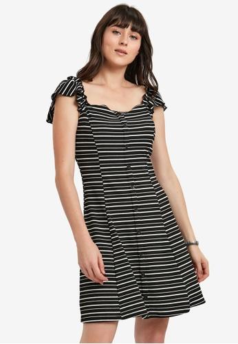 LC Waikiki black Frill Detail Striped Shirt Dress 411C3AAAEAFA68GS_1