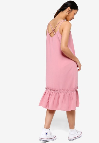 Something Borrowed pink Cross Back Ruffles Hem Midi Dress F6962AA82B2B1EGS_1