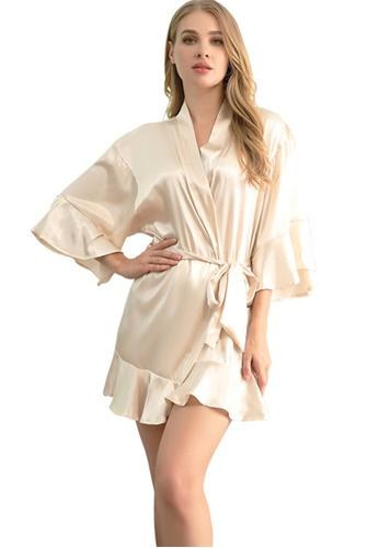 LYCKA brown LCB2159-Lady One Piece Casual Robe Nightwear-Brown 2DAC0US53E5918GS_1
