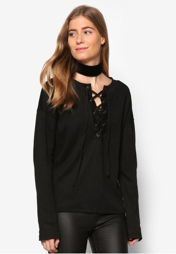 穿孔繫帶寬版長袖衫, 服飾,esprit服飾 外套