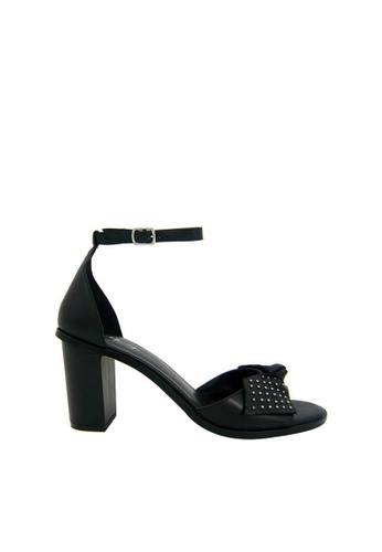 eq:iq black eqELSIE Heeled Sandals with Studded Bow EQ351SH0FI5MSG_1