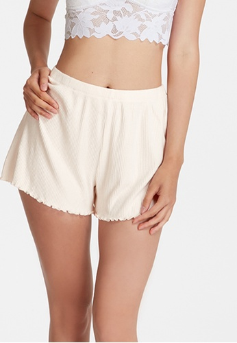 6IXTY8IGHT white LEECA, Supersoft Ribbed Lounge Shorts HW08634 98CDAAA4D32C91GS_1
