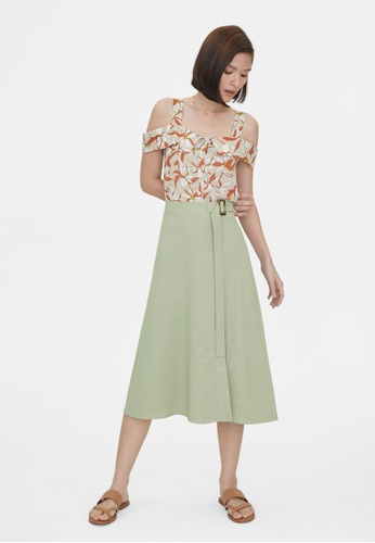 Pomelo green Side Slit Buckle Belted Flare Skirt - Green 39107AA208A3AFGS_1