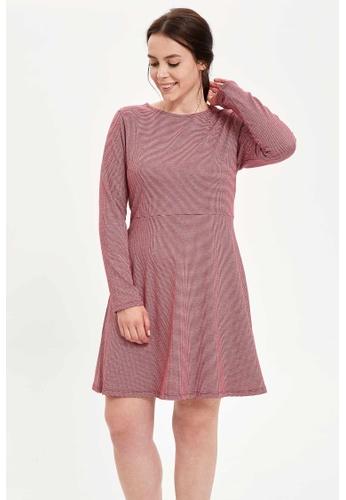 DeFacto red Woman Dress & Skirt Long Sleeve Knitted Dress 791E8AA7AC1C4EGS_1
