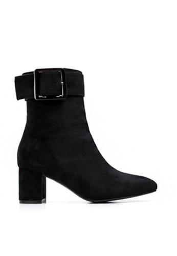 Twenty Eight Shoes 黑色 仿猄布扣子踝靴3362 2C0D2SH5095A31GS_1