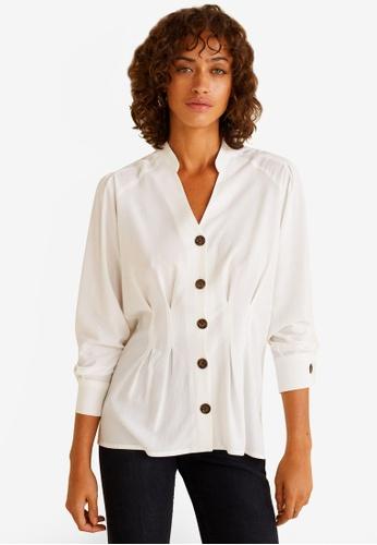 Mango white Contrasted Buttons Shirt 1D4DBAAA563EDAGS_1