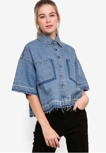 9adc8a6ff6 Shop Something Borrowed Contrast Wash Oversized Denim Shirt Online on  ZALORA Philippines
