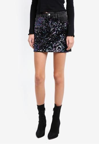 TOPSHOP black Moto Sequin Denim Mini Skirt TO412AA0SIW9MY_1