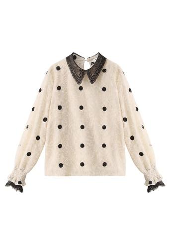 LYCKA white LDW1255 Korean Style Autumn-Winter Lady Doll Collar Mesh Dot Print Long Sleeve Blouse -Black 993FFAA441AE93GS_1