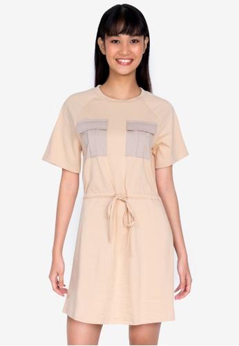 ZALORA BASICS multi Jersey Drawstring Dress 2D7ACAAE71319BGS_1