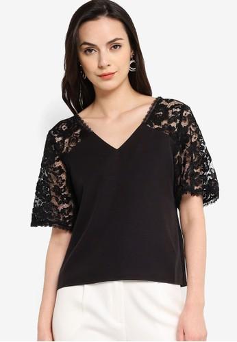 ZALORA WORK black Lace Panel Short Sleeves Top F0336AA9978B33GS_1