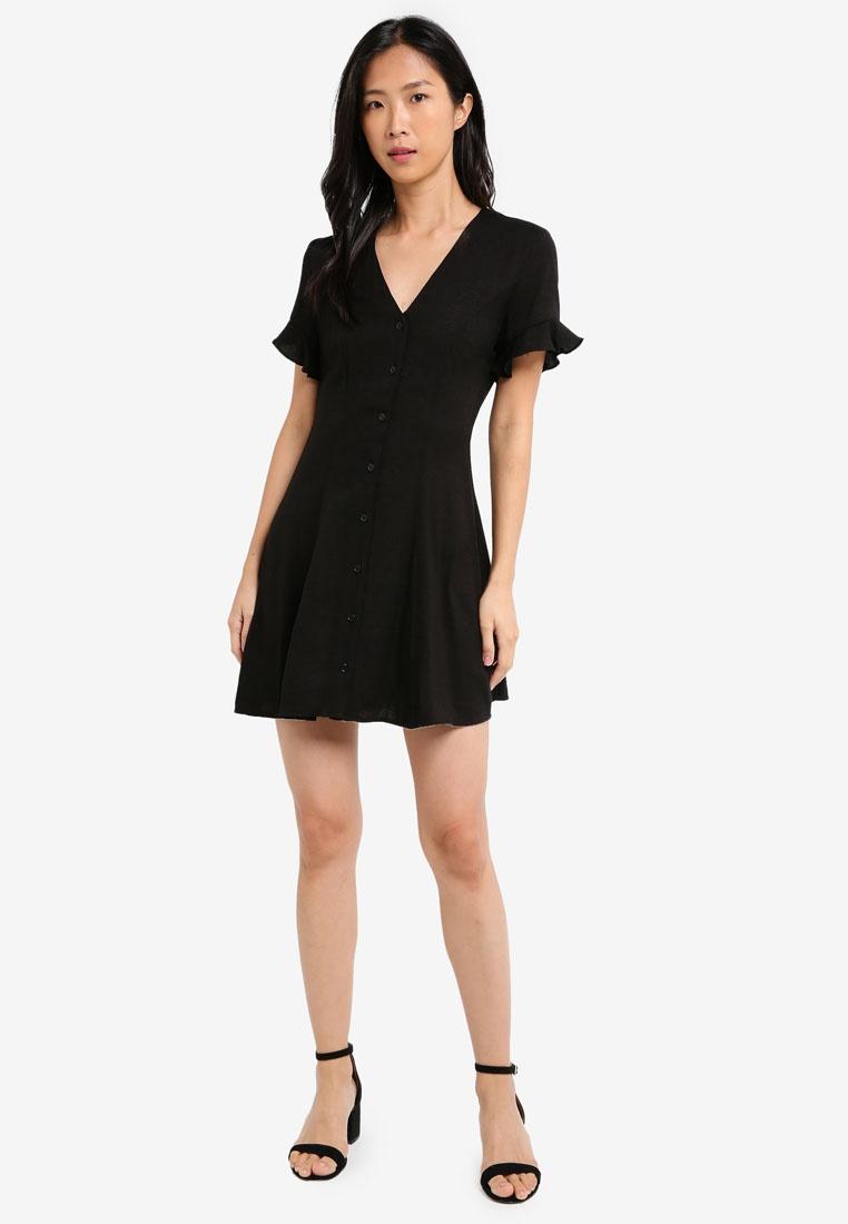 Dress Black Button Flare And Fit Front BASICS ZALORA naFZqST