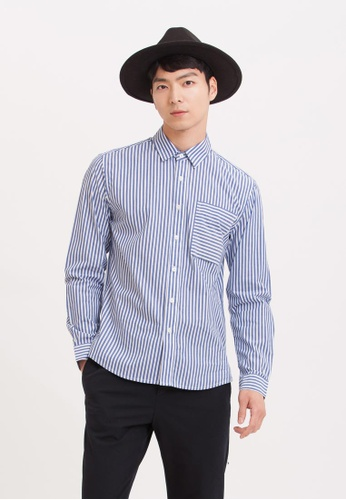 H:CONNECT blue Stripe Cotton Shirt D6616AAA58526AGS_1